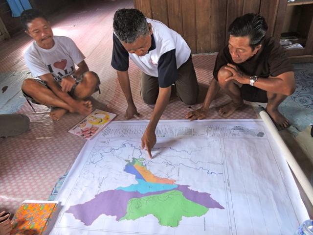(Ilustrasi) Peta partisipatif yang telah rampung dibuat oleh masyarakat adat Dayak Punan Adiu.