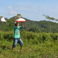 Lampor, sedang membantu melakukan take off Drone di Hutan Adat Kasepuhan Karang