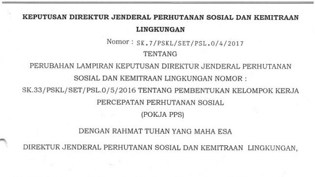 Dirjen PSKL Keluarkan SK Pokja Percepatan Perhutanan Sosial Terbaru