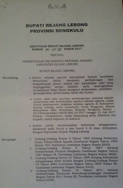 SK Bupati Rejang Lebong tentang Pembentukan Tim Terpadu Reforma Agraria Kabupaten Rejang Lebong, Bengkulu